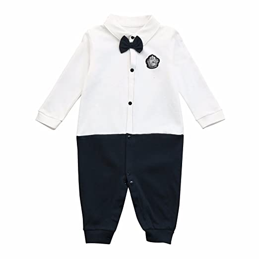807e16d0f73 Sameno Newborn Baby Boys Shirt Bow Tie Long Sleeve Romper Jumpsuit Outfits  Clothes (0-