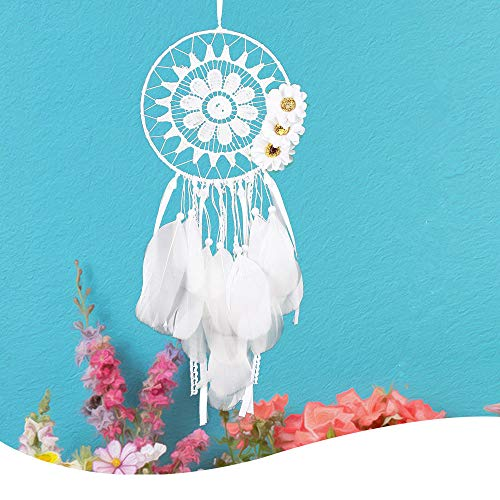 Emptystar Dream Catcher, Handmade Dream Catcher White Dreamcatchers with Flowers Indian Stytle Net Hanging for Christmas, Halloween Party, Curtain, Patio, Garden, Wedding, Christmas Tree]()