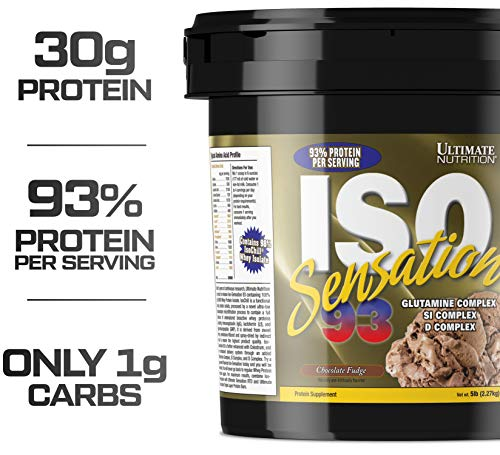 Ultimate Nutrition Iso Sensation 93 Fat Free Whey Protein Isolate Powder with Glutamine - 30 Grams of Pure Protein, Low Carb, Keto Friendly, Chocolate Fudge, 5 Pounds (Iso Sensation 93 Cookies)