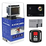 "AIQiu Action Camera 4K Sony Sensor WIFI Waterproof Sports Camcorder 170 Degree Wide Angle 2""Screen Ultra HD 16MP/2 Rechargeable 1350mAh Batteries/ Wireless Remote Control/ 21 Mounting Kits Action Cameras AIQiu"