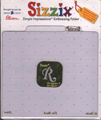 sizzix' simple impressions; embossing folder Monogram R (Sizzix Simple Impressions Embossing Folder)