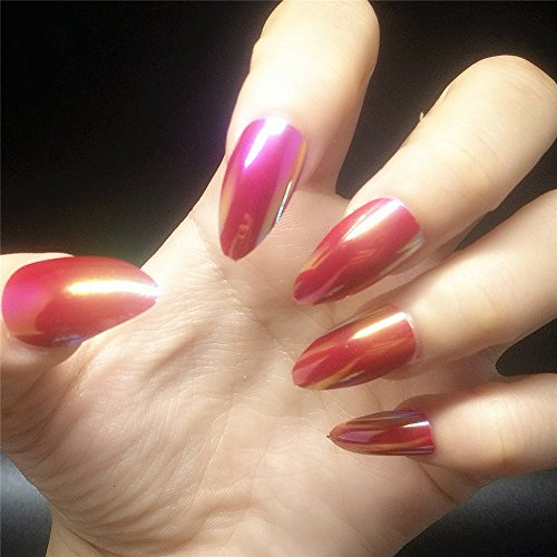 BloomingBoom Stiletto 24 Pcs 12 Size Full Cover False Fake Nail Artificial Laser Multi Chrome Mermaid 2 Tones Press on Salon Design Women Claw Long Pointed Almond Wine Red Reflect (Fire Red Wine)