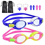 BROTOU Swim Goggles, Pack of 2 Kids Swimming Goggles No Leaking Anti Fog Swim Goggles for Children Boys Girls and Early Teens from 3 to 12 Years Old