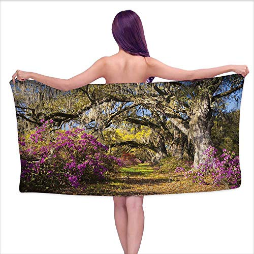 - Glifporia White Bath Towels Americana Landscape Decor,Flowers in Charleston South Carolina Azalea Blooms Oak Tree,Violet Purple,W10 xL39 for Toddlers