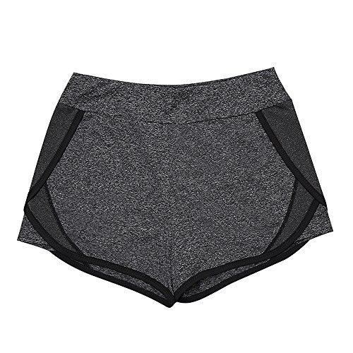 XDIAN Cortocircuitos deportivos femeninos Correr yoga Cortocircuitos rápidos secos antiexposición Grey