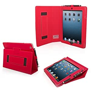 iPad 3 & 4 Case, Snugg™ - Smart Cover with Flip Stand & Lifetime Guarantee (Red Leather) for Apple iPad 3 and 4