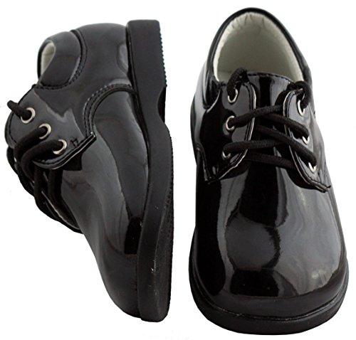 Boys Infant Toddler Black Round Toe Tuxedo Shoe (Leather Toddler Black)