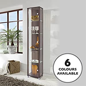 HOME Single Glass Display Cabinet Wenge Dark Wood with 4 Moveable ...