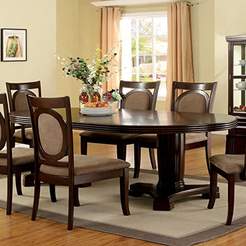 Furniture of America Mavea 7 Piece Dining Table Set - Dark Walnut