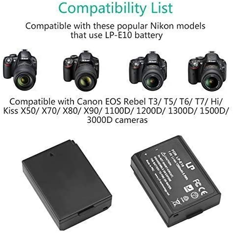 EOS Kiss x80 Li-ion Recambio batería lp-e10 para Canon EOS Kiss x50 EOS Kiss x70