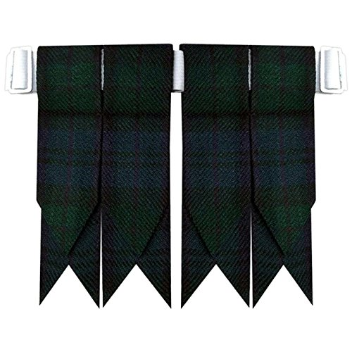 New Solid Plain Black, Royal Stewart Tartan Many More Kilt Flashes Multi Colors (Black Watch)