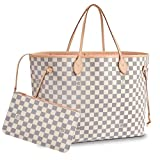Leather House Neverfull Style Designer Woman Organizer Handbag Monogram Tote Shoulder  White(Pink) 40x32x20cm
