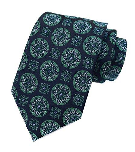 Gold Green Stripe Silk Necktie - Mens Navy Blue Silk Tie Green Big Dot Jacquard Woven Gentlemen Necktie Guy Gifts