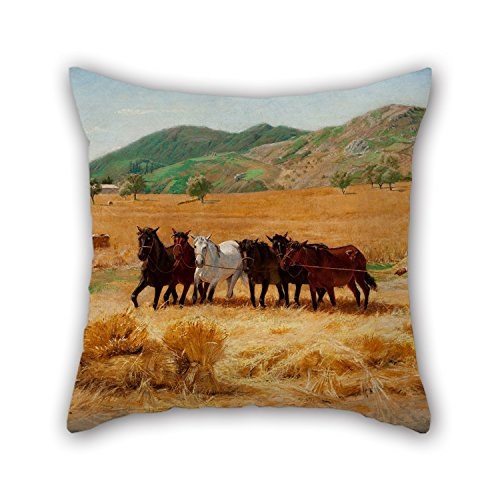 [Loveloveu Oil Painting Pedro Weingärtner - Harvest In Anticoli Pillow Covers 20 X 20 Inches / 50 By 50 Cm Gift Or Decor For Seat,play Room,saloon,outdoor,saloon,bar Seat - Both] (Light Me Up Ladybug Dress Costumes)