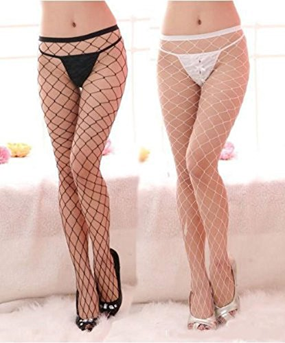 NewNow Women's Sexy Large Mesh Fishnet Tights Pantyhose Legging Stockings White