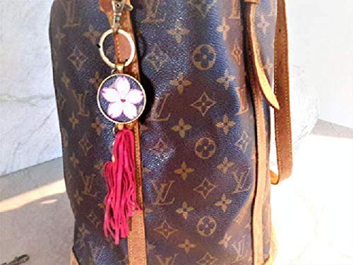 (VERY SPECIAL!! Louis Vuitton upcycled Flower Blossom monogram repurpose. Key Chain Purse Charm with Leather Tassel. Keychain. Key Ring.)