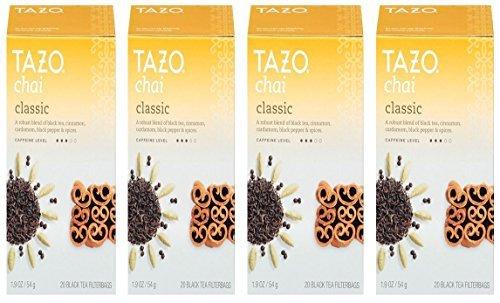 Tazo Chai Classic Tea 4 Boxes 80 Filtered Bags