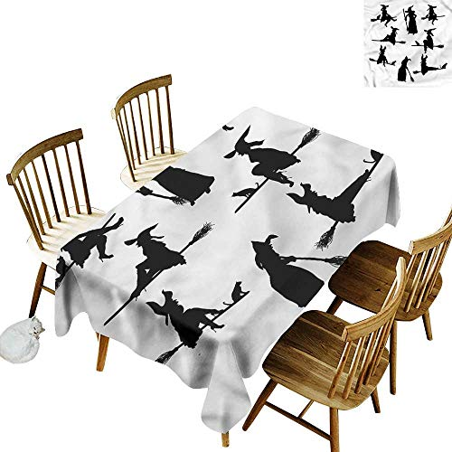 Water Resistant Table Cloth Witch Black Silhouettes of Women Table Cover for Dining 60