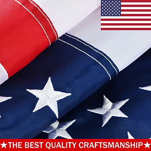 Cheap ATHX American Flag 5×8 ft. – Embroidered Stars – Sewn Stripes – Brass Grommets – UV Protected – Heavyweight Oxford Nylon Built for Outdoor Use (5×8 Foot American Flag)