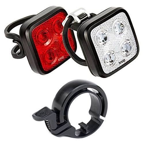 KNOG Blinder Mob FourEyes Waterproof Bicycle Head Light/Tail Light Twinpack & Oi Bell (Large) Bike Safety Kit