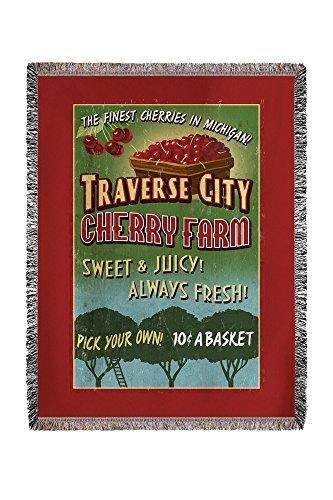 Traverse City, Michigan - Cherry Farm Vintage Sign (60x80 Woven Chenille Yarn Blanket)