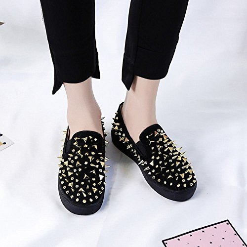 Carolbar Women's New Style Fashion Rivets Flat Platform Loafer Shoes Gold miU4iUydg