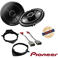 Pioneer TS-G1645R 250W 6.5 2-Way G-Series Coaxial Car Speakers W/ (1 PAIR) GMSB356 Pair Of Speaker Adapter with Metra 72-4568 Speaker Harness for Select Buick and Chevy 2015 GM Vehicles