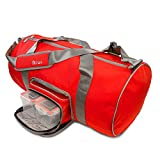 Fitmark Transporter Duffel Bag with Removable Meal Prep Insulated Bag with BPA Free Portion Control Meal Containers, Reusable Ice Packs, Red …