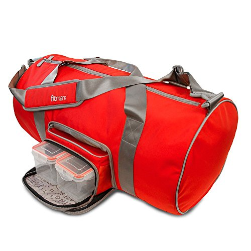 Fitmark Transporter Duffel Bag with Removable Meal Prep Insulated Bag with BPA Free Portion Control Meal Containers, Reusable Ice Packs, Red … by Fitmark