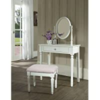 Princess Vanity Set with Mirror and Bench, White