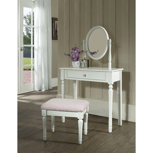 white vanity table with mirror and bench. Princess Vanity Set with Mirror and Bench  White Amazon ca Home