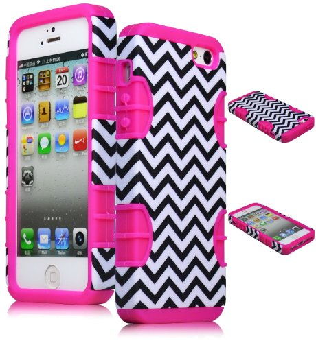 Bastex Hybrid Case for Apple Iphone 5 - Hot Pink Silicone with Hard Black & White Chevron Pattern Shell