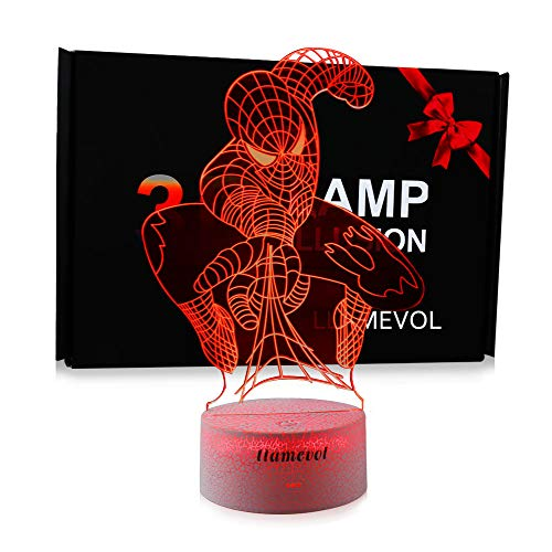 Spider-Man Night Light for Kids Birthday Gift 3D Illusion Lamp Optical Led Desk Gifts for Boys Men Home Decor Office Bedroom Party Decorations Web Shooter Nursery Lighting 7 Color Change Spider-Man (Spider Web Marvel Man)