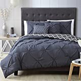 Comforter Sets Premium Queen Size Set in 5 Piece Adult Luxury Elegant Design (Charcoal)