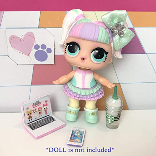 (LOL Accessories 4PC Lot Starbucks Laptop Phone Bow DOLL NOT INCLUDED ...)