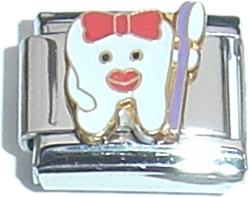Tooth And Toothbrush Italian Charm