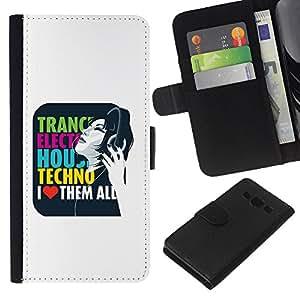 KLONGSHOP // Tirón de la caja Cartera de cuero con ranuras para tarjetas - Trance Techno Música Electro House cita del amor - Samsung Galaxy A3 //