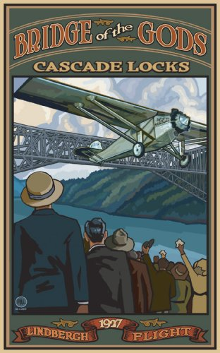 Northwest Art Mall Lindbergh Flying Under the Bridge of the Gods Cascade Locks Oregon by Paul A Lanquist, 11-Inch by - Mall Charles St