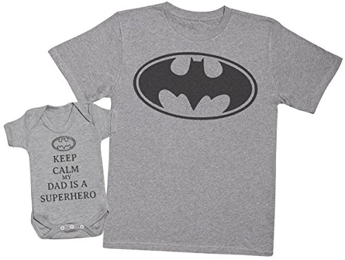 Keep Calm My Dad is A Hero Create a Matching Father Baby Gift Set Each Sold Separately Mens T Shirt /& Baby Bodysuit -