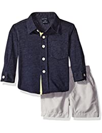 Nautica Boys' Long Sleeve Jersey Shirt and Ripstop Short Set