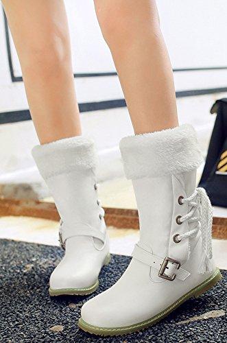 Easemax Women's Stylish Flat heel Round Toe Pull On Buckle Snow Martin Mid Calf Boots White RkYByBVkk3