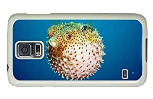 Hipster Samsung Galaxy S5 Case water proof Puffer Fish PC White for Samsung S5
