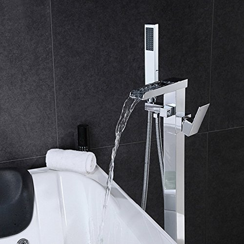 Modern 1-Handle Waterfall Freestanding Tub Filler Faucet & Handshower Chrome