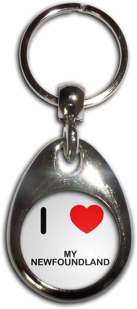 I Love My Newfoundland Chrome Tear Drop Shaped Double Sided Key Ring