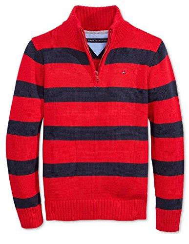 Tommy Hilfiger Little Boys George Stripe Sweater, Bullseye Red, 4