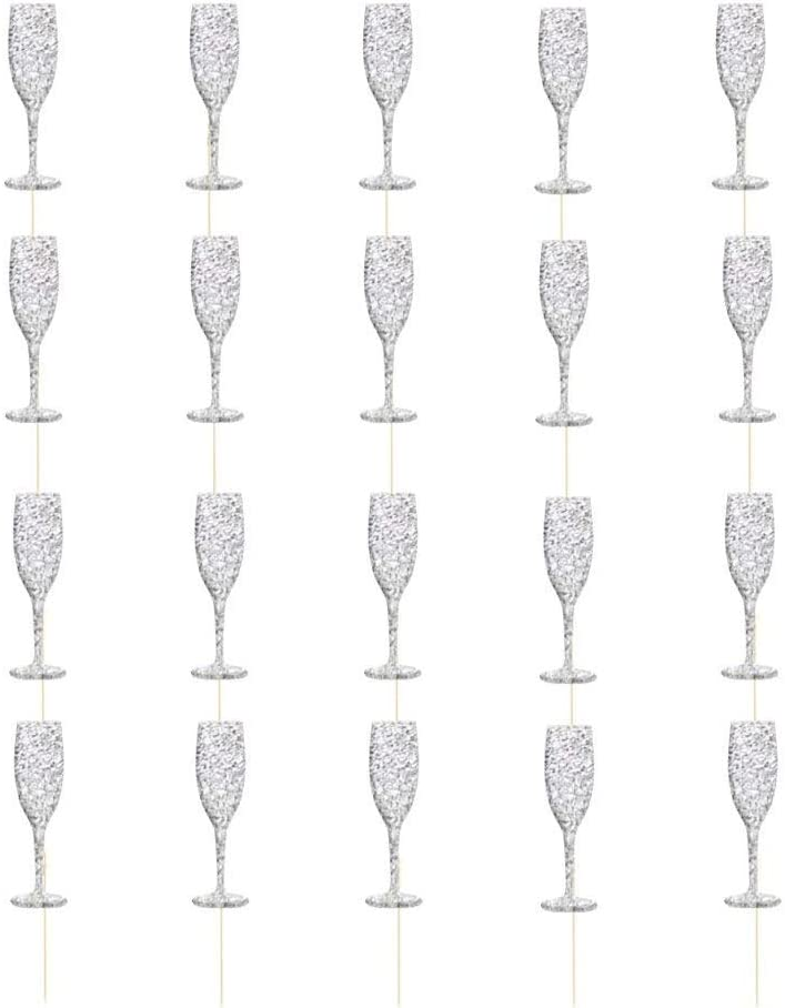 20PCS Wine Glass Cupcake Toppers Glitter Cake Picks Cupcake Picks Toppers Happy New Year Christmas Holiday Cake Food Picker - Silver
