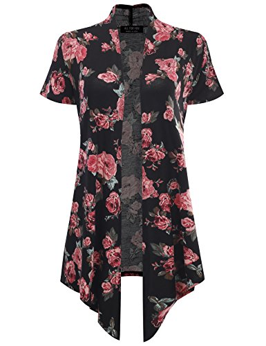 All for You Women's Soft Drape Floral Cardigan Short Sleeve Rose 61273 - Sleeve Cardigan Print 3/4