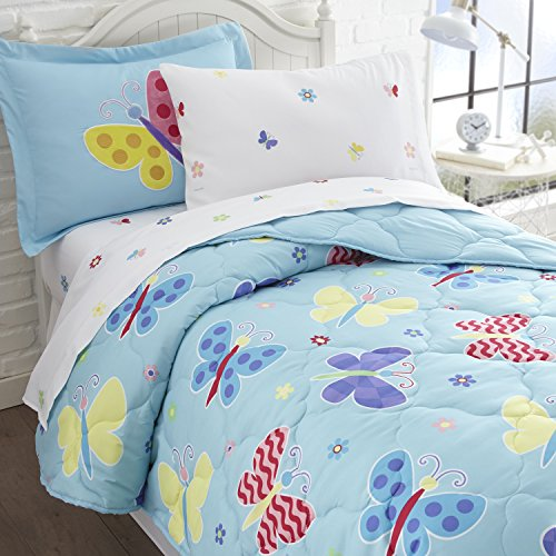 Butterfly Bed In A Bag - Wildkin 5 Piece Twin Bed-in-A-Bag, 100% Microfiber Bedding Set, Includes Comforter, Flat Sheet, Fitted Sheet, Pillowcase, and Embroidered Sham, Olive Kids Design – Butterfly Garden