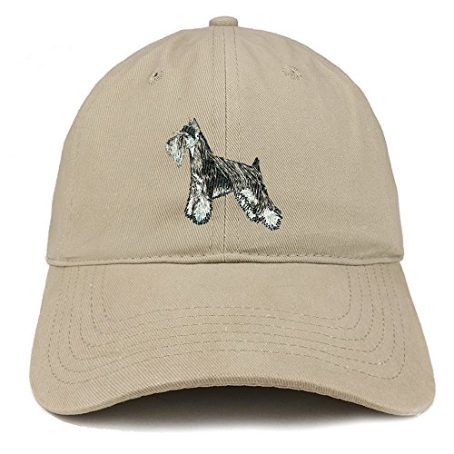 Trendy Apparel Shop Miniature Schnauzer Dog Embroidered Soft Cotton Dad Hat- ()