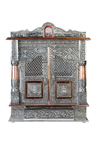 Brilliant Home Designs Aluminium and Copper Oxidized Home Temple/Ghar Mandir/Pooja Mandir Size- L-15 and B-7 Inches
